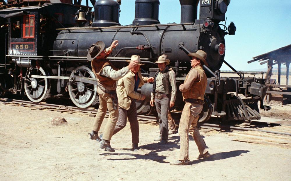 THE TRAIN ROBBERS, Rod Taylor, John Wayne, Christopher George, Ben Johnson, 1973